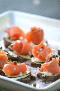 Platter of Smoked Salmon Canapes