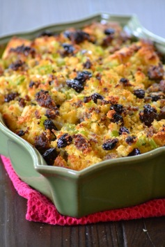 Cornbread Stuffing with Cherries and Sweet Italian Sausage