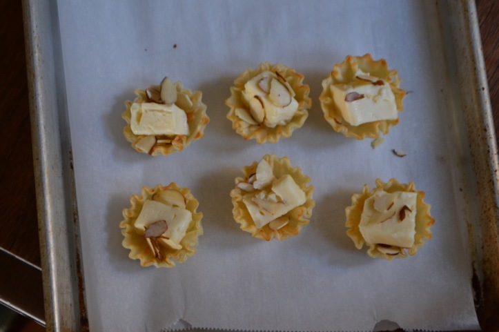 Brie with Almonds - Ready for the Oven