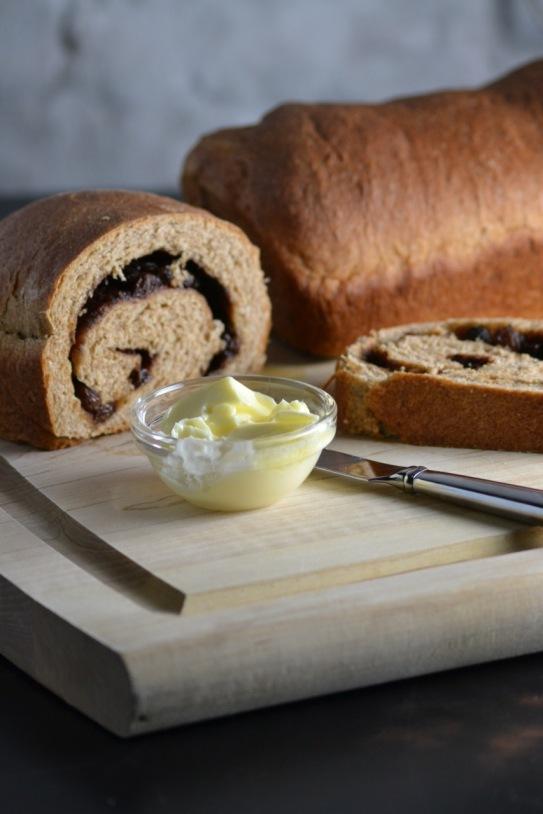 Whole Wheat Cinnamon Raisin Swirl Bread with Butter