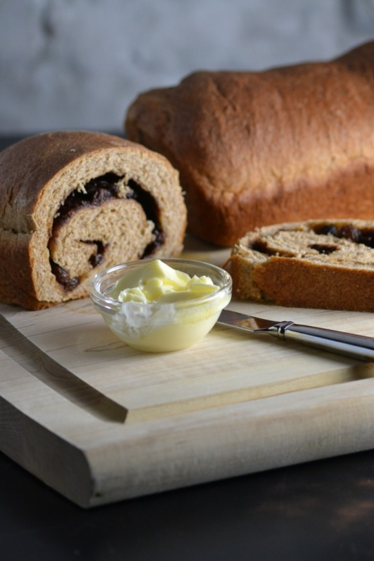 Whole Wheat Cinnamon Raisin Swirl Bread with Butter