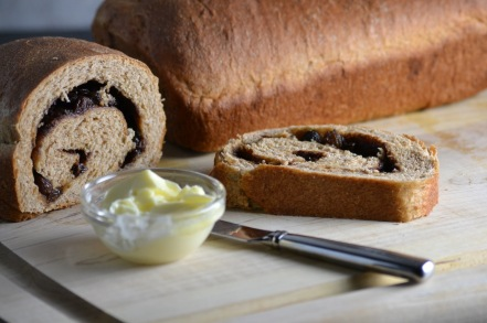 Whole Wheat Cinnamon Raisin Swirl Bread