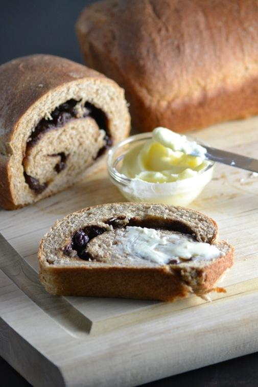 Whole Wheat Cinnamon Raisin Bread with Butter