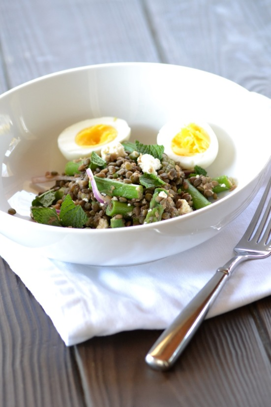 Lentil and Asparagus Salad with a Lemon-Walnut Vinaigrette