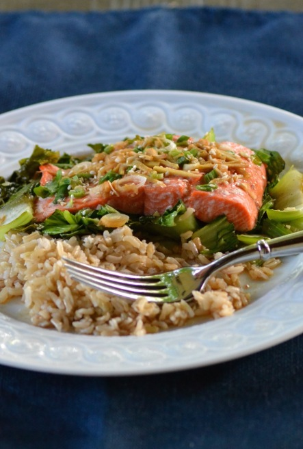 Maple-Soy Salmon over Bok Choy (www.mincedblog.com