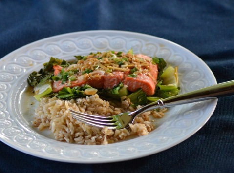 Ginger-Soy Salmon over Bok Choy (www.mincedblog.com)