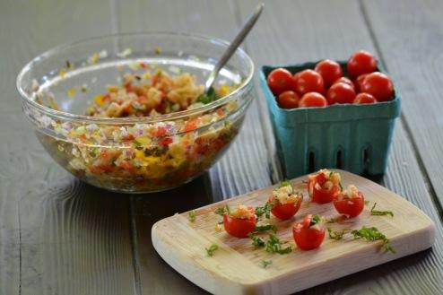 Cherry Tomatoes stuffed with Panzanella (www.mincedblog.com)