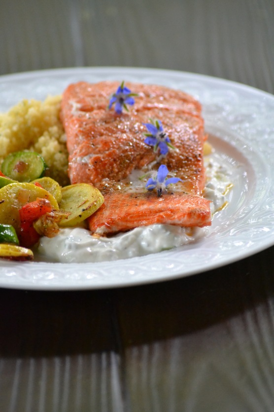 Seared Salmon with Borage Yogurt Sauce (www.mincedblog.com)