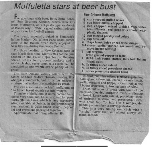 Muffulettas - Orlando Sentinel 1978 (www.mincedblog.com)