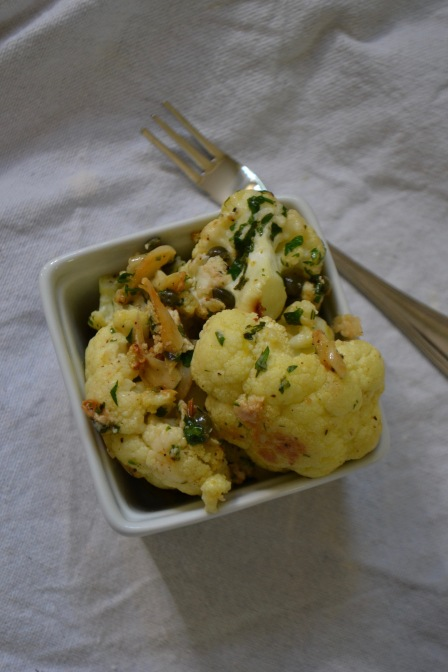 Roasted Cauliflower with Lemons and Capers (www.mincedblog.com)