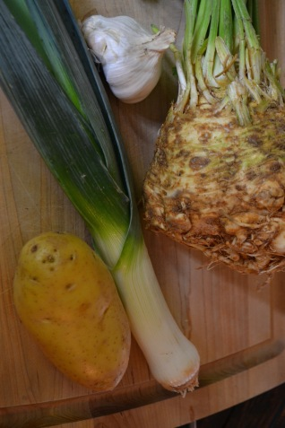 Ingredients for Celery Root Soup (www.mincedblog.com)