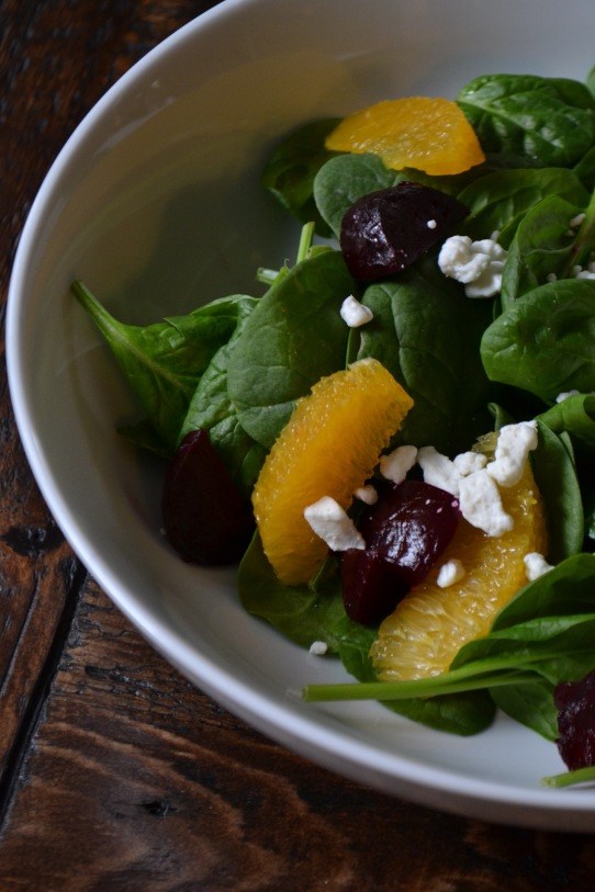 Orange, Beet and Spinach Salad with Honey-Dijon Vinaigrette (www.mincedblog.com)